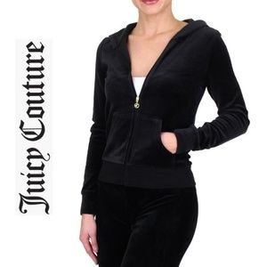 NWT JUICY COUTURE Black Velour Track Jacket